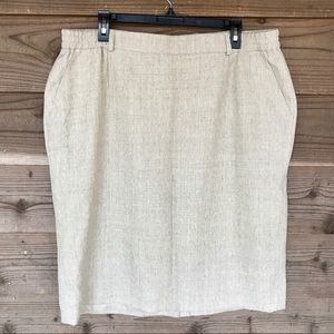 Hauber Fashion 100% New Virgin Wool Tan Skirt 16